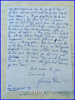 Hermes Pan Fred Astaire's Choreographer double sided handwritten letter/envelop