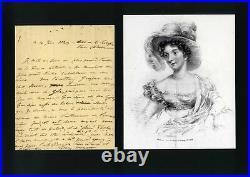 IRISH NOVELIST Lady Morgan Sydney autograph, handwritten letter signed & mounted