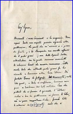 ITALIAN NOVELIST Edmondo De Amicis autograph, handwritten letter signed