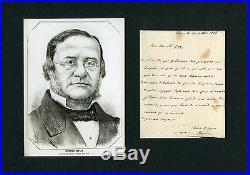 ITALIAN UNIFICATION Daniele Manin autograph, handwritten letter signed