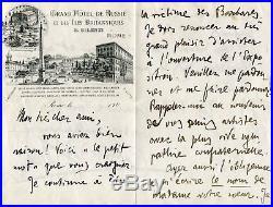 ITALIAN WRITER Gabriele D`Annunzio autograph, handwritten letter signed