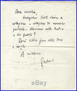 ITALIAN WRITER Gabriele D`Annunzio autograph, handwritten letter signed & mounte