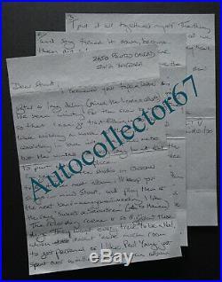 JOE COCKER signed AUTOGRAPH handwritten letter Santa Barbara