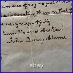 JOHN QUINCY ADAMS JSA LOA Handwritten Autograph Letter Signed Full Signature