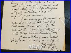 JULES FEIFFER Cartoonist Original 1960 handwritten & Signed In Ink Letter