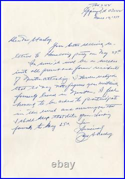 Jack Sharkey signed autographed handwritten letter! Guaranteed Authentic! 1163