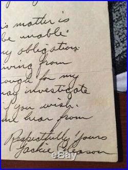Jackie Gleason Handwritten Letter Signed, Warner Brothers 1941, Jsa Authenticate