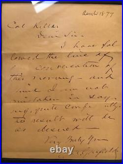 James A Garfield Handwritten / Signed Letter March 18, 1877 COA Authentic