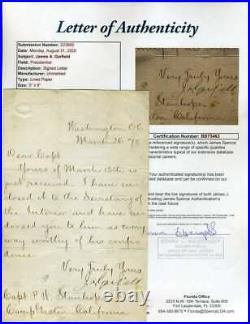 James Garfield JSA Coa Hand Signed 1870 Handwritten Letter Autograph