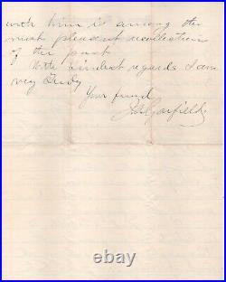 James Garfield handwritten signed letter with nice association