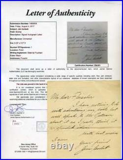 Jim Corbett Jsa Coa Authentic Hand Written Signed Letter Autograph
