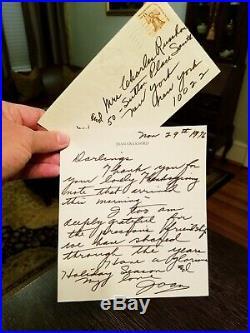 Joan Crawford Handwritten/Envelope Signed 1976 Letter Oscar Award Winner RARE
