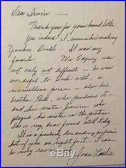 Joan Leslie PSA DNA Signed Autographed Handwritten Letter Actress James Cagney