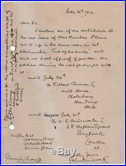 John Drinkwater - British poet and playwright -handwritten letter