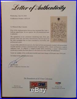 John L Sullivan Authentic Signed Autographed Handwritten Letter PSA Certified