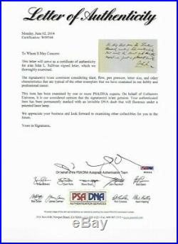 John L Sullivan Hand Written Signed Autographed Letter Envelope PSA/DNA