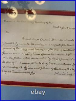 John Quincy Adams hand written letter as president Alexander Macomb