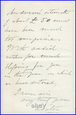 Joseph Lister SIGNED AUTOGRAPHED Handwritten MS Letter 1901 Antispetic Surgery