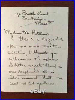 Josephine Preston Peabody Handwritten Letter Signed By Am. Poet & Dramatist