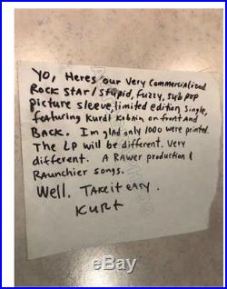 Kurt Cobain signed handwritten letter JSA coa! Nirvana Love Buzz 45 autographed