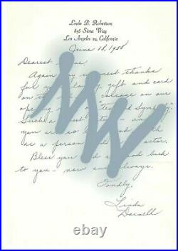 LINDA DARNELL signed. Handwritten Letter. Autographed
