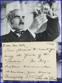 Lee De Forest Handwritten Letter Signed, Father Of Radio, Inventor, Good Content