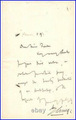 Letter Handwritten by Bram Stoker Author of Dracula Signed by Henry Irving