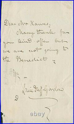 Lucie, Lady Duff-Gordon SIGNED AUTOGRAPHED Handwritten Letter Egypt 1821-1869