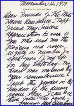 MAMIE EISENHOWER PSA DNA Handwritten Signed 1979 Letter Autograph