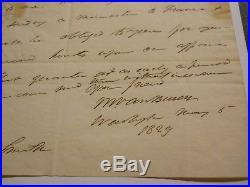 MARTIN VAN BUREN HANDWRITTEN & SIGNED 1829 LETTER PSA/DNA LOA 8th PRESIDENT AUTO