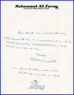 MUHAMMAD ALI 1989 Handwritten Letter on Ali Stationery
