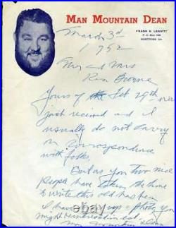 Man Mountain Dean D. 53 JSA Coa Autograph 1952 Handwritten Letter Hand Signed