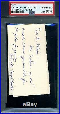 Margaret Hamilton PSA DNA Coa Signed Handwritten Note Autograph