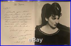 Maria Callas 1958 handwritten thank-you letter, autographed rare photo COAs