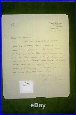 Maurice Walsh Novelist Hand Written Letter 1945 Signed Inscribed THE QUIET MAN
