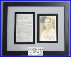 Mel Ott Estate Handwritten Un-signed Auto Autograph Letter+burke Photo Jsa/dna