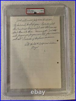 Meyer Lansky Mafia Boss Mobster Autograph Signed Handwritten Letter Auto PSA 9