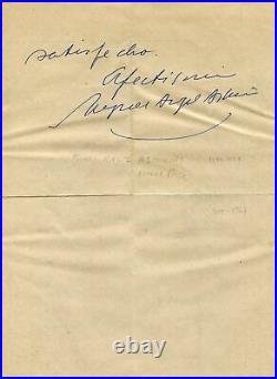 Miguel Angel Asturias NOBEL PRIZE autograph, handwritten letter signed