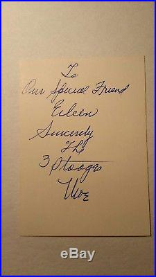 Moe Howard Letter 3 Three Stooges 1962 Hand Written Autographed Signature