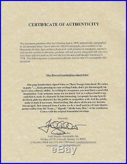 Moe Howard (three Stooges) Autograph Hand-written Signed Letter With Coa