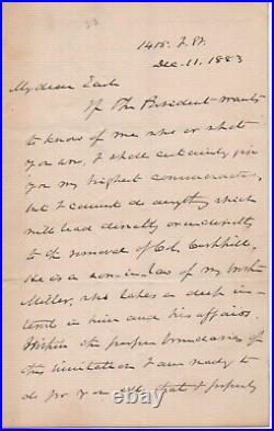 Morrison Waite handwritten signed letter as Chief Justice of the Supreme Court