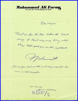 Muhammad Ali Handwritten Letter-autographed-spiritual Quote-his Stationery Jsa