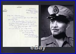 Muhammad Naguib PRESIDENT OF EGYPT autograph, handwritten letter signed & mounte