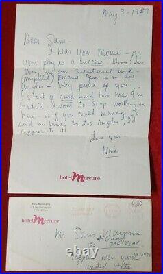 NINA SIMONE 5/3/1989 hand written letter withenvelope