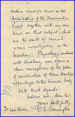 NOBEL PRIZE Charles Scott Sherrington autograph, handwritten letter signed