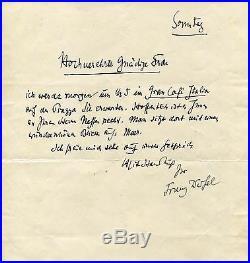 NOVELIST Franz Werfel autograph, handwritten letter signed