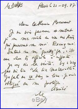 NOVELIST Marguerite Duras autograph, handwritten letter signed