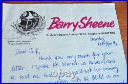 Original Autograph Signature BARRY SHEENE handwritten letter 1971 Suzuki