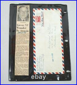 Original Korea Chang Myun Handwritten Letter Assassination Rare Vintage