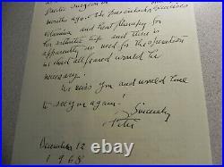 Original hand written signed 2 sided letter from listed artist Peter Hurd 1968